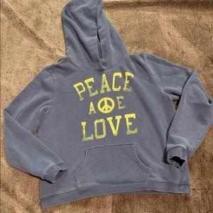 American Eagle Peace & Love Distressed Hoodie